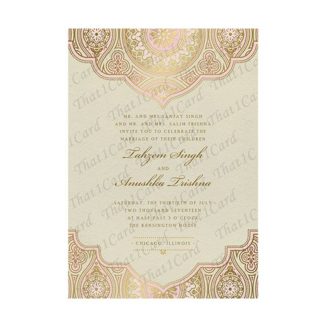 Golden wedding invitation card in Mauve and Yellow hues in Chennai