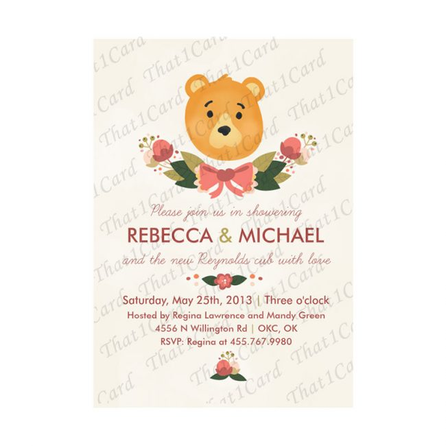 Teddy bear themed baby shower invitation