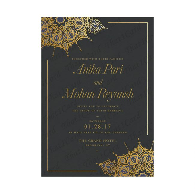 Black and Gold royal wedding invitation