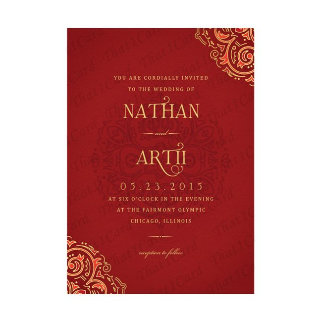 Royal creative wedding invitation in red