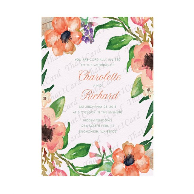 Watercolour flowers royal wedding invitations